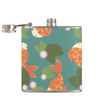 Teal Koi Pond Hip Flask