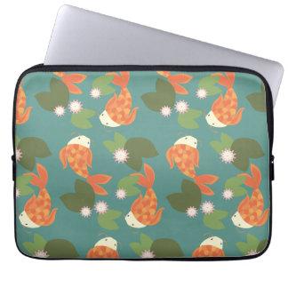 Teal Koi Pond Laptop Sleeve