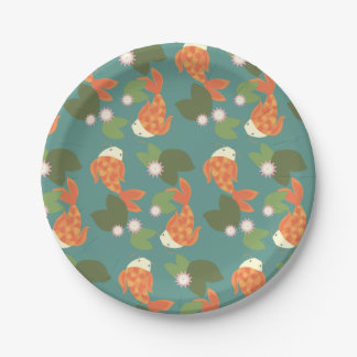 Teal Koi Pond Paper Plate