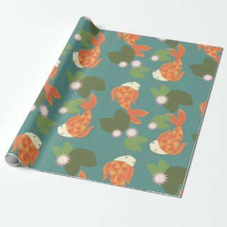 Teal Koi Pond Wrapping Paper