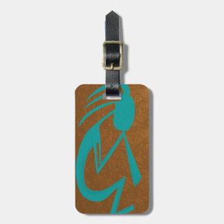Teal Kokopelli Luggage Tag