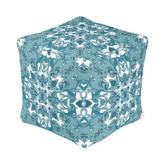 Teal Lacy Circular Kaleidoscope Pattern Pouf