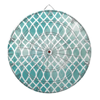 Teal Lattice Watercolor Pattern Dartboard