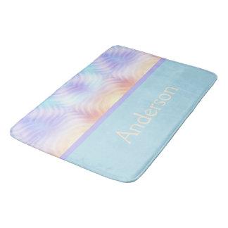 Teal Lavender Geometric Bath Mat