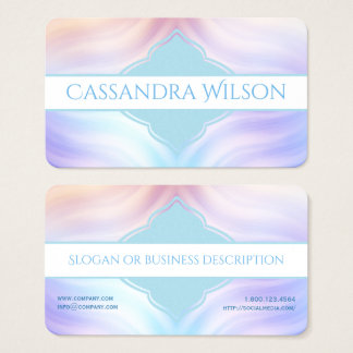 Teal Lavender Melon Quatrefoil Business Card