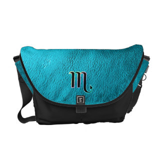 Teal Leather Zodiac Sign Scorpio Messenger Bag