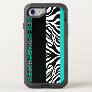 Teal Leopard and Zebra Animal Print OtterBox Defender iPhone 8/7 Case