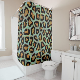 Teal leopard chic animal print shower curtain