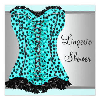 Teal Leopard Corset Lingerie Bridal Shower 13 Cm X 13 Cm Square Invitation Card