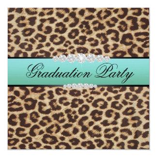 Teal Leopard Graduation Party 13 Cm X 13 Cm Square Invitation Card