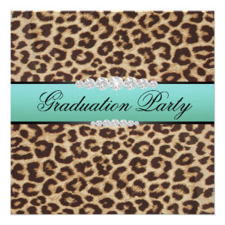 Teal Leopard Graduation Party Custom Invite