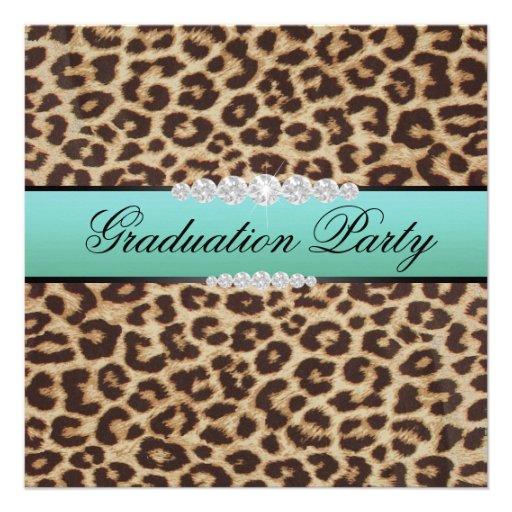 Teal Leopard Graduation Party Custom Invitations