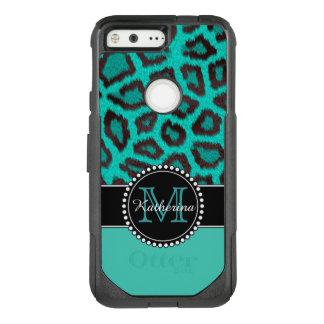 Teal Leopard Personalized Defender OtterBox Commuter Google Pixel Case
