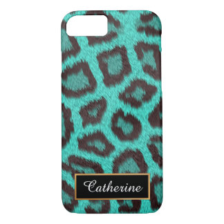 Teal, Leopard Personalized  with Name iPhone 8/7 Case