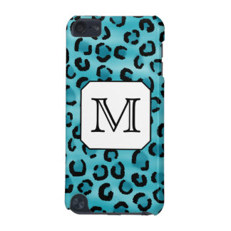 Teal Leopard Print, Custom Monogram. iPod Touch (5th Generation) Cover