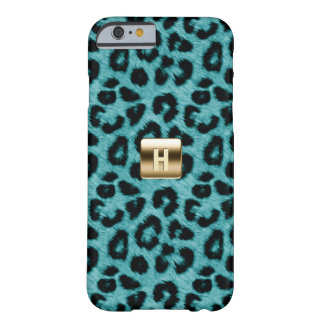 Teal Leopard Print Gold Monogram iPhone 6 Case