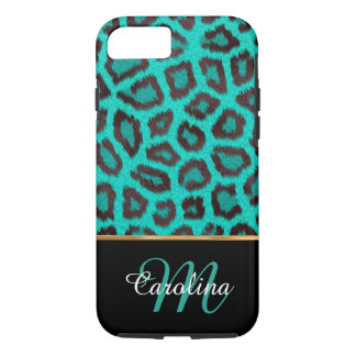 Teal Leopard Skin,  Name and Monogram iPhone 7 Case