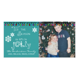 Teal Let's Be Jolly Christmas Holiday Photo Card
