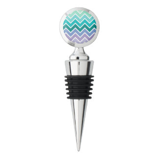 Teal Lilac Ombre Chevron Pattern Wine Stopper