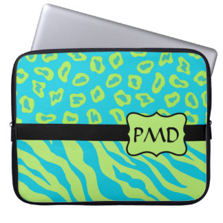 Teal, Lime Greem Zebra & Cheetah Personalized Laptop Computer Sleeves