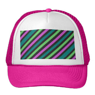 Teal, Lime Green, Hot Pink Glitter Striped Cap