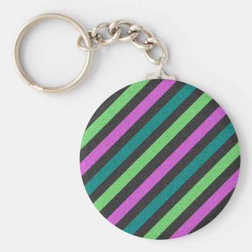 Teal, Lime Green, Hot Pink Glitter Striped Keychain