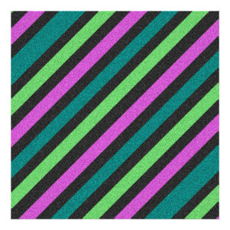 Teal, Lime Green, Hot Pink Glitter Striped Photographic Print