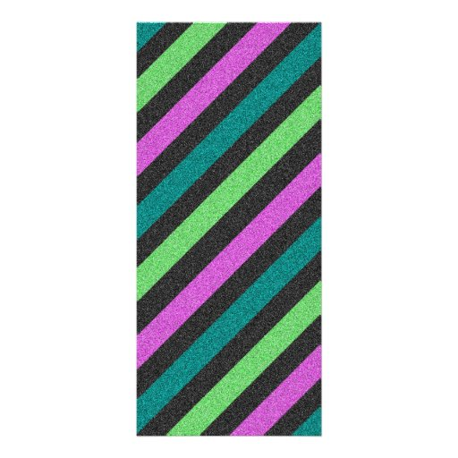Teal, Lime Green, Hot Pink Glitter Striped Rack Card Template