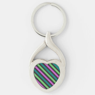 Teal, Lime Green, Hot Pink Glitter Striped Silver-Colored Twisted Heart Key Ring
