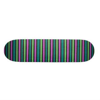 Teal, Lime Green, Hot Pink Glitter Striped Skateboard