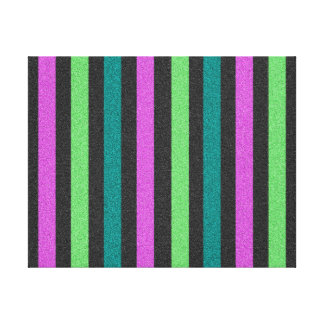 Teal, Lime Green, Hot Pink Glitter Striped Stretched Canvas Print