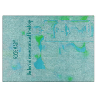 """Teal Lime Green Meaningful  """"Rosemary"""" Herbal Cutting Board"""