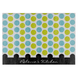 Teal & Lime Green Polka Dots Personalized Cutting Board