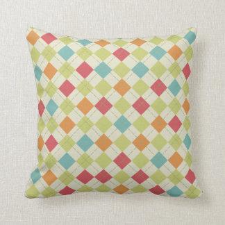 Teal, Lime Green, Red, Pink, Orange Argyle Cushion