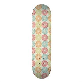 Teal Lime Green Red Pink Orange Circles Skateboard Deck