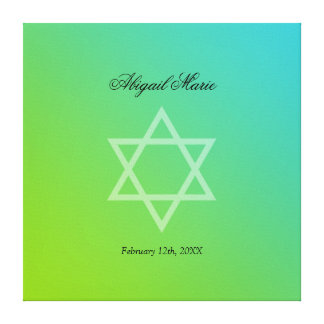 Teal Lime Green Star of David Bat Mitzvah Sign In Stretched Canvas Print