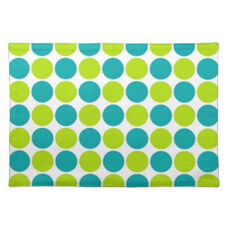 Teal & Lime Polka Dots Placemats