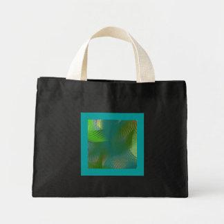 Teal Lime Sage Whirlwind Swirls Small Black Mini Tote Bag