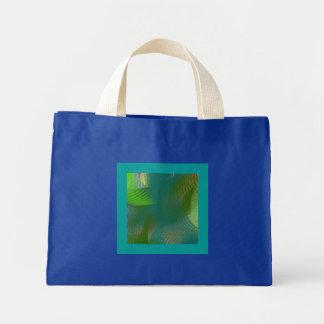 Teal Lime Sage Whirlwind Swirls Small Royal Blue Mini Tote Bag