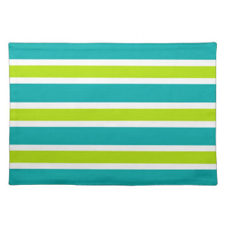 Teal & Lime Stripes Placemat