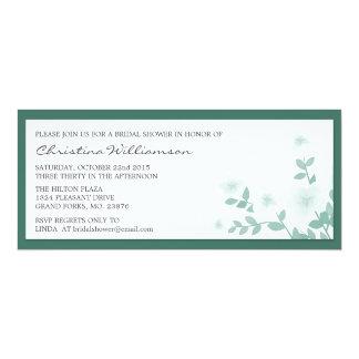 "Teal Long Floral Bridal Shower Invitations 4"" X 9.25"" Invitation Card"