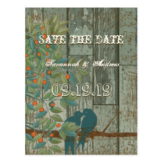 Teal Love Birds Sitting in a Tree Save the Date Postcard