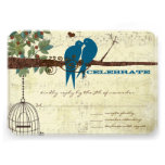 Teal Love Birds Sitting In a Tree Wedding RSVP Announcement