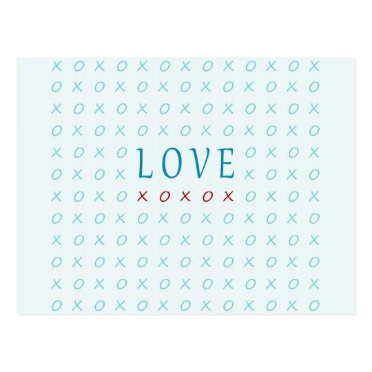 Teal Love Hugs & Kisses Elegant Design Postcard