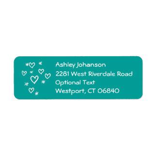 Teal Love & Stars Return Address Name Label Return Address Label
