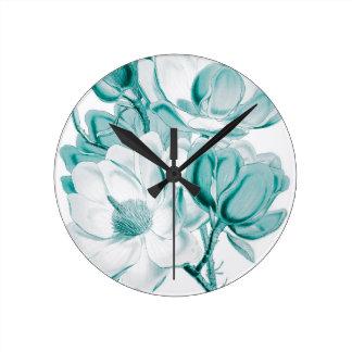 Teal Magnolia Dream Clock