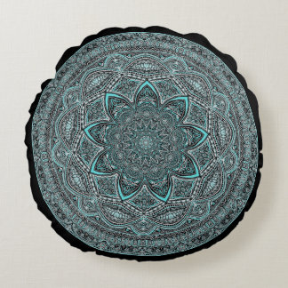 Teal Mandala Round Cushion