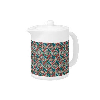Teal, Maroon, Beige Ethnic Floral Pattern