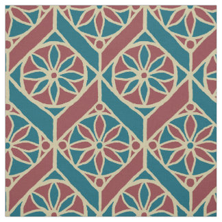 Teal, Maroon, Beige Ethnic Floral Pattern Fabric