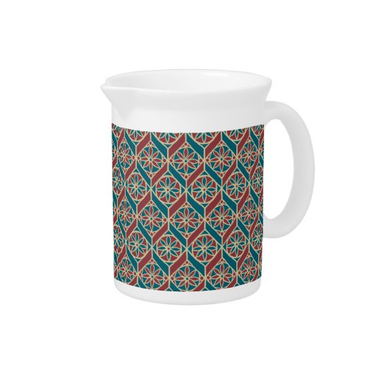 Teal, Maroon, Beige Ethnic Floral Pattern Pitcher